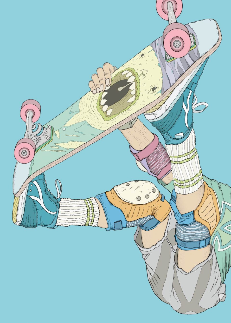 Illustration 80s skateboarding